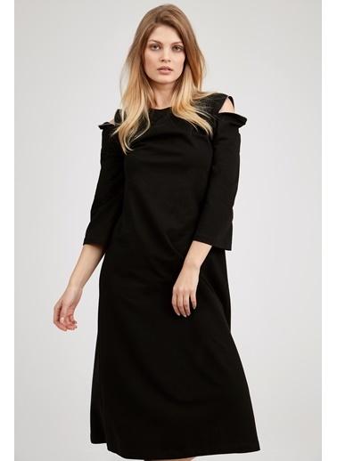 Omuz Detaylı Uzun Elbise-Setre